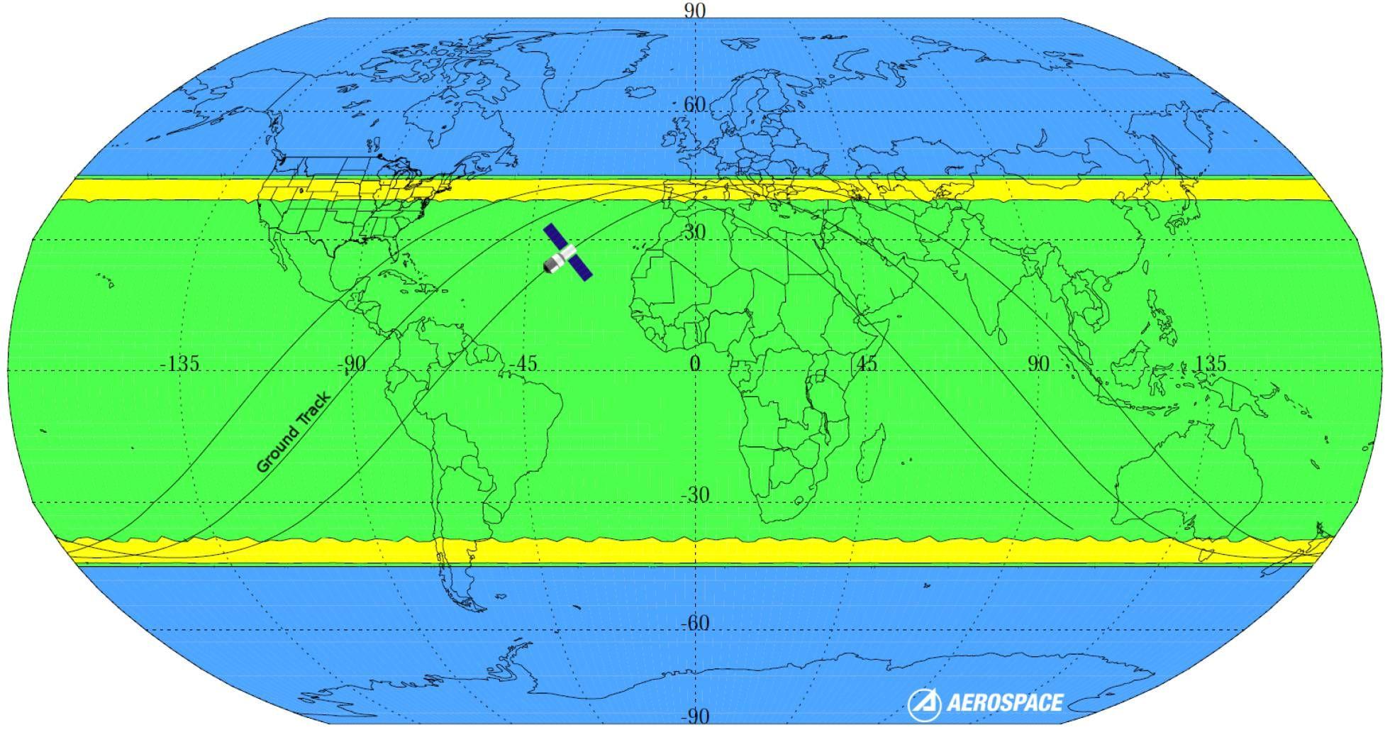 Rota da Tiangong 1 na queda